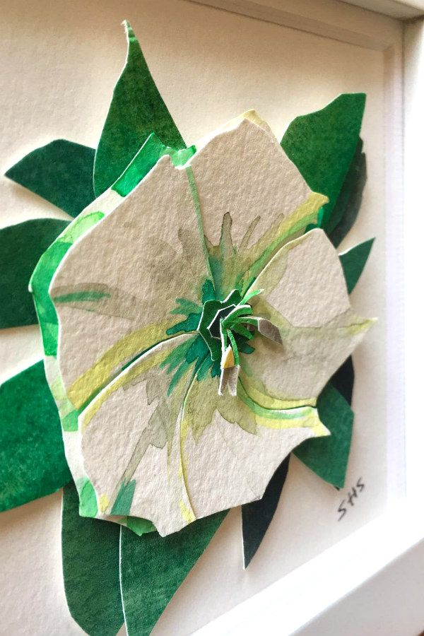 layered, watercolor painted, cut paper flower