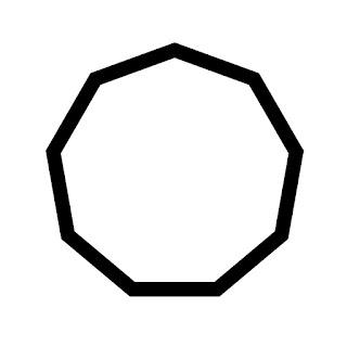 vector clip art of a nonagon
