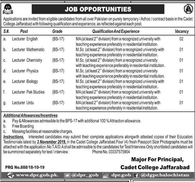 Jobs in Cadet College Jaffarabad Oct 2019