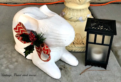 Vintage, Paint and more... vintage wood rabbit dressed up for Christmas