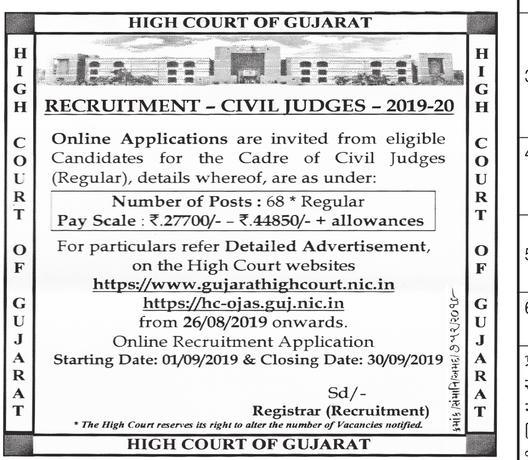 High Court of Gujarat Recruitment for 68 Civil Judges Posts 2019