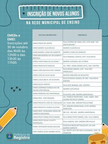 Inscrições para ingresso de novos alunos na Rede Municipal de Ensino de Registro-SP