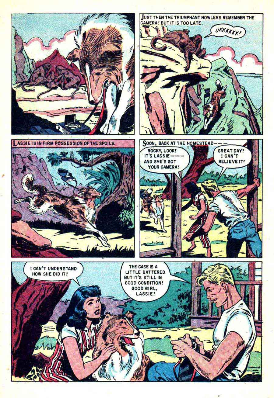Lassie v1 #22 dell 1950s tv comic book page art by Matt Baker