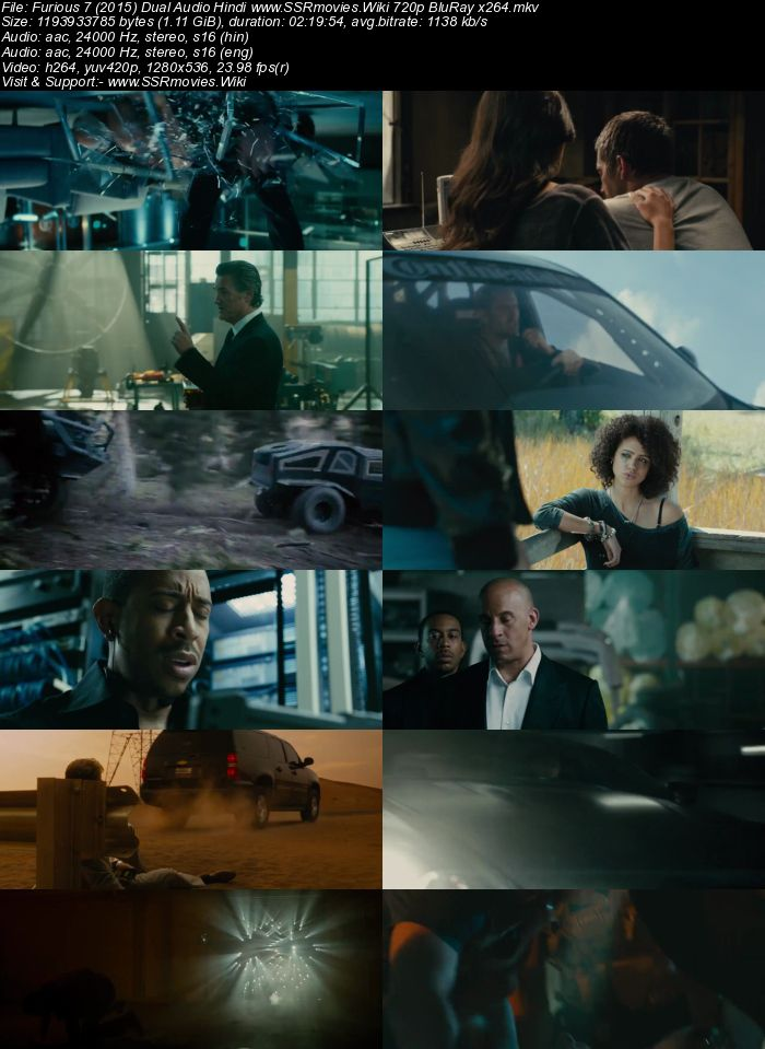 Furious 7 (2015) Dual Audio Hindi 480p BluRay x264 450MB Movie Download