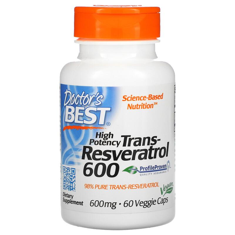 Doctor's Best, высокоэффективный трансресвератрол, 600 мг, 60 растительных капсул