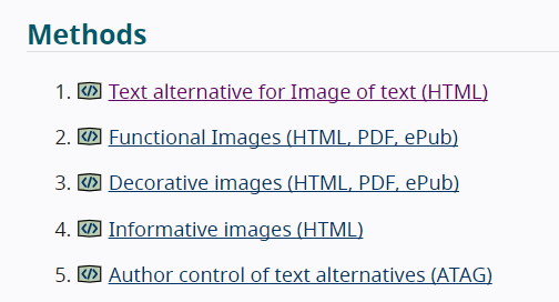Listado de 5 métodos del Resultado Text alternative available. Se puede consultar en formato texto en el estándar.