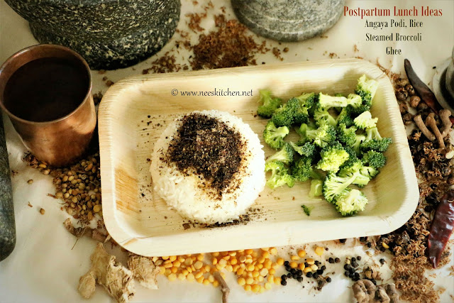 Postpartum Lunch Ideas (Angaya Podi, Ghee, Rice & Steamed Broccoli)