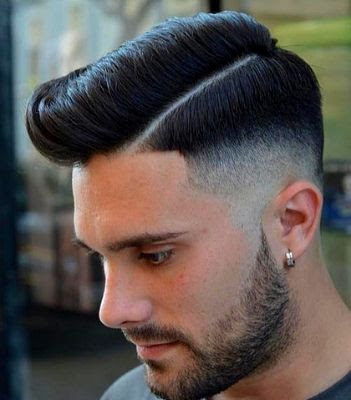 35 Modern Haircut For Men in 2020 - Faded hard part pompadour