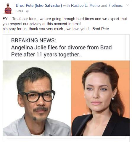 Brod Pete Asks Fans For Prayers on Brangelina Breakup. TOO FUNNY!