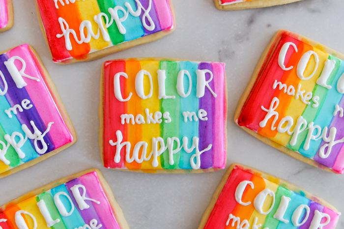 Color Makes Me Happy watercolor cookies