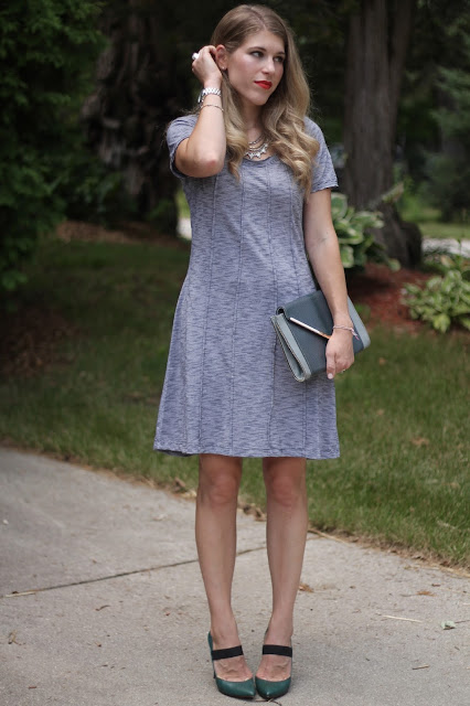 Aventura mallory dress, green pumps, grey envelope clutch, statement necklace