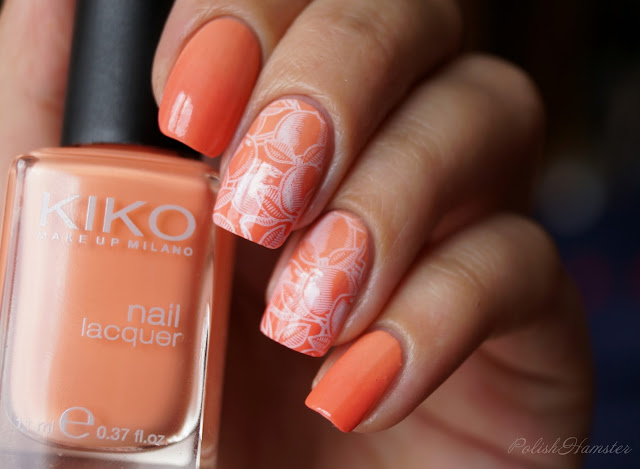 "Градиент с KIKO 359 ""Light peach"" и Morgan Taylor ""Candy Coated Coral"", стемпинг Dana 5"