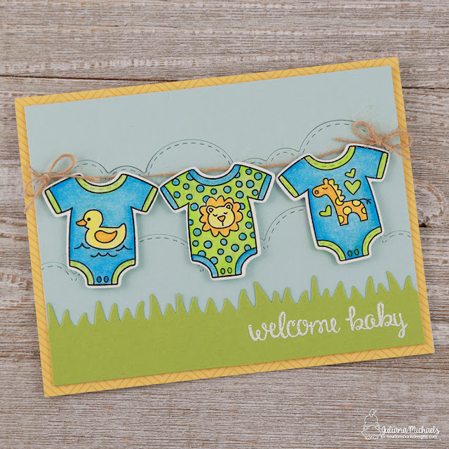 Welcome Baby Boy Card by Juliana Michaels featuring Newton's Nook Designs Lovable Laundry Stamp and Die Set