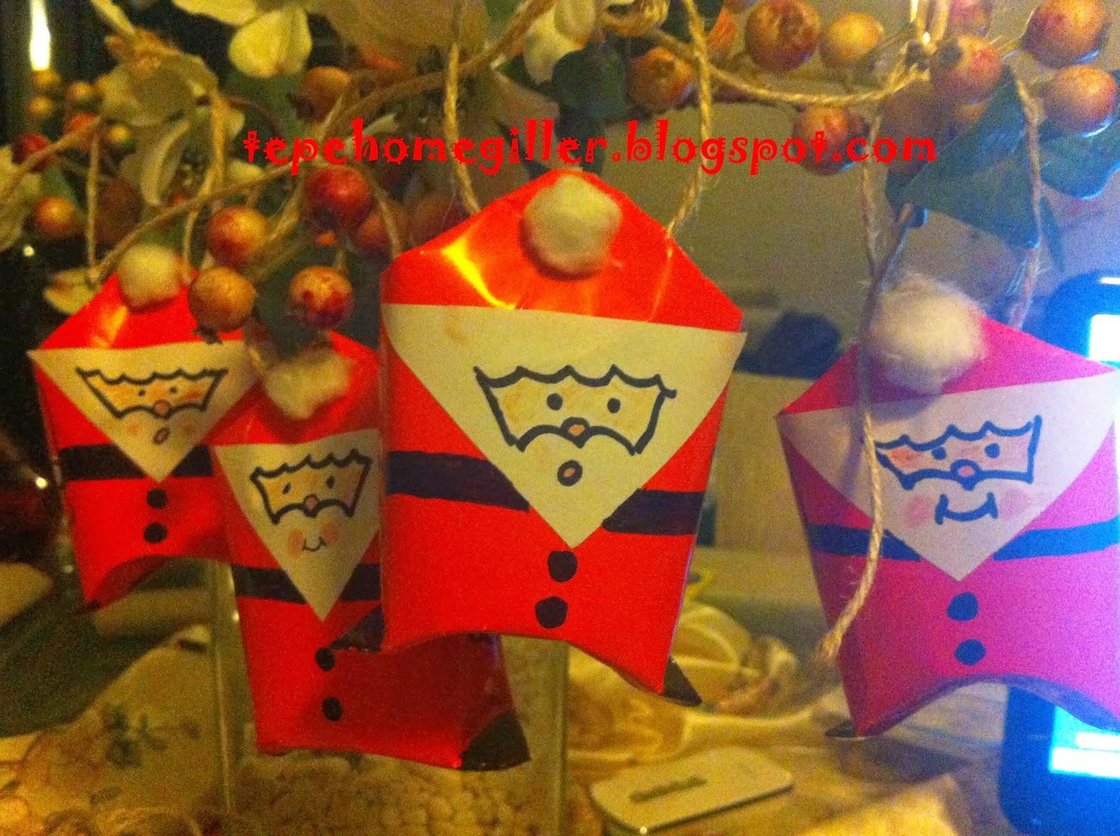 Tuvalet Kağıdı Rulosudan Noel Baba Yapımı