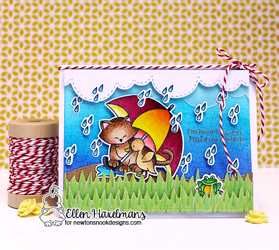 Cat and Umbrella Card by Ellen Haxelmans| Newton's Rainy Day stamp set and die set by Newton's Nook Designs #newtonsnook