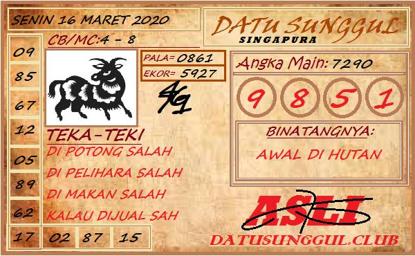 Prediksi Togel Singapura Senin 16 Maret 2020 - Prediksi Datu Sunggul