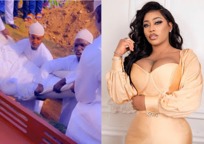 Watch the Moment Toyin Lawani father is been laid to rest (Video)