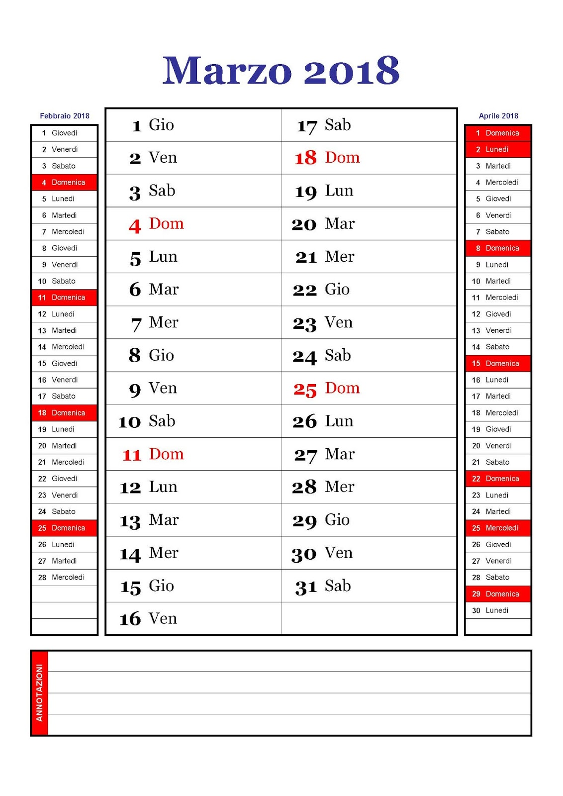 Marzo Calendario.Calendario Calendario Mensile Marzo 2018