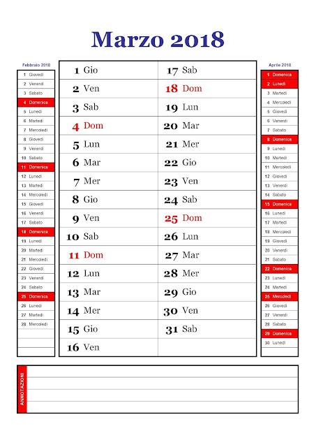 calendario mensile marzo 2018