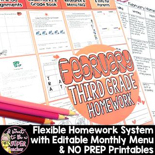https://www.teacherspayteachers.com/Product/Third-Grade-Homework-February-35-NO-PREP-Printables-Editable-Homework-Menu-1086888