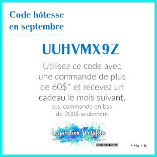 Code hôtesse du mois de septembre