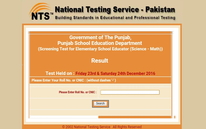 Nts result by name search