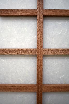 Kumiko joinery detail on shoji screen