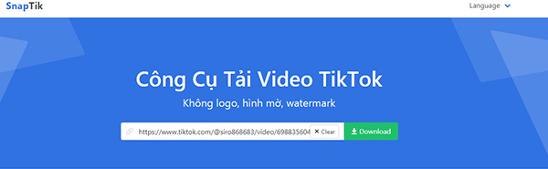 SnapTik App - Tải video tiktok không có logo miễn phí f