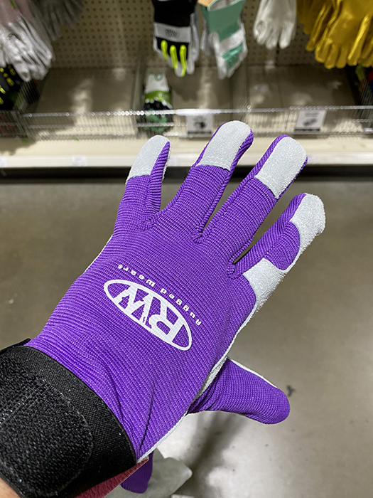 purple work gloves at Menards