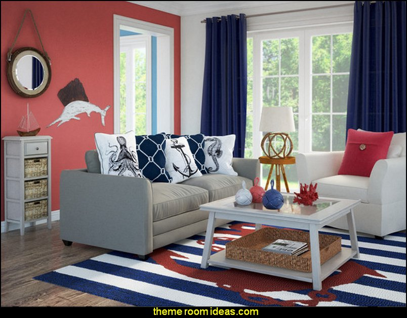 Nautical Theme Decorating Ideas Part - 18: Seaside Cottage Decorating Ideas - Coastal Living Living Room Ideas - Beach  Cottage Coastal Living Style