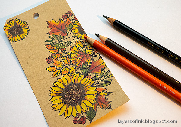 Layers of ink - Leaves on Kraft Tutorial by Anna-Karin Evaldsson. Add shading with pencils.