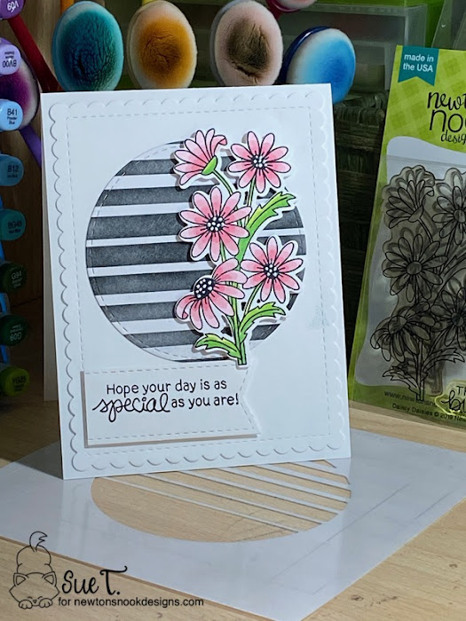 Hope your day is as special as you by Sue features Dainty Daisies, Retro Sun and Palms, Circle Frames, and Frames & Flags by Newton's Nook Designs; #inkypaws, #newtonsnook, #cardmaking