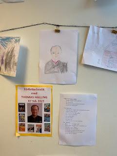 Klass 1 har ritat teckningar till boken Tass, tass, tass...