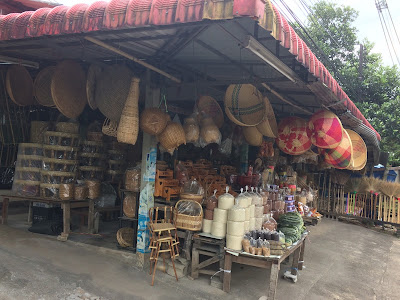 Local grass products and bags of rice