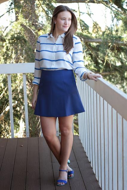 j. crew stripe shirt, j. crew blue skirt, kentucky tailgating, Cobalt Blue Look