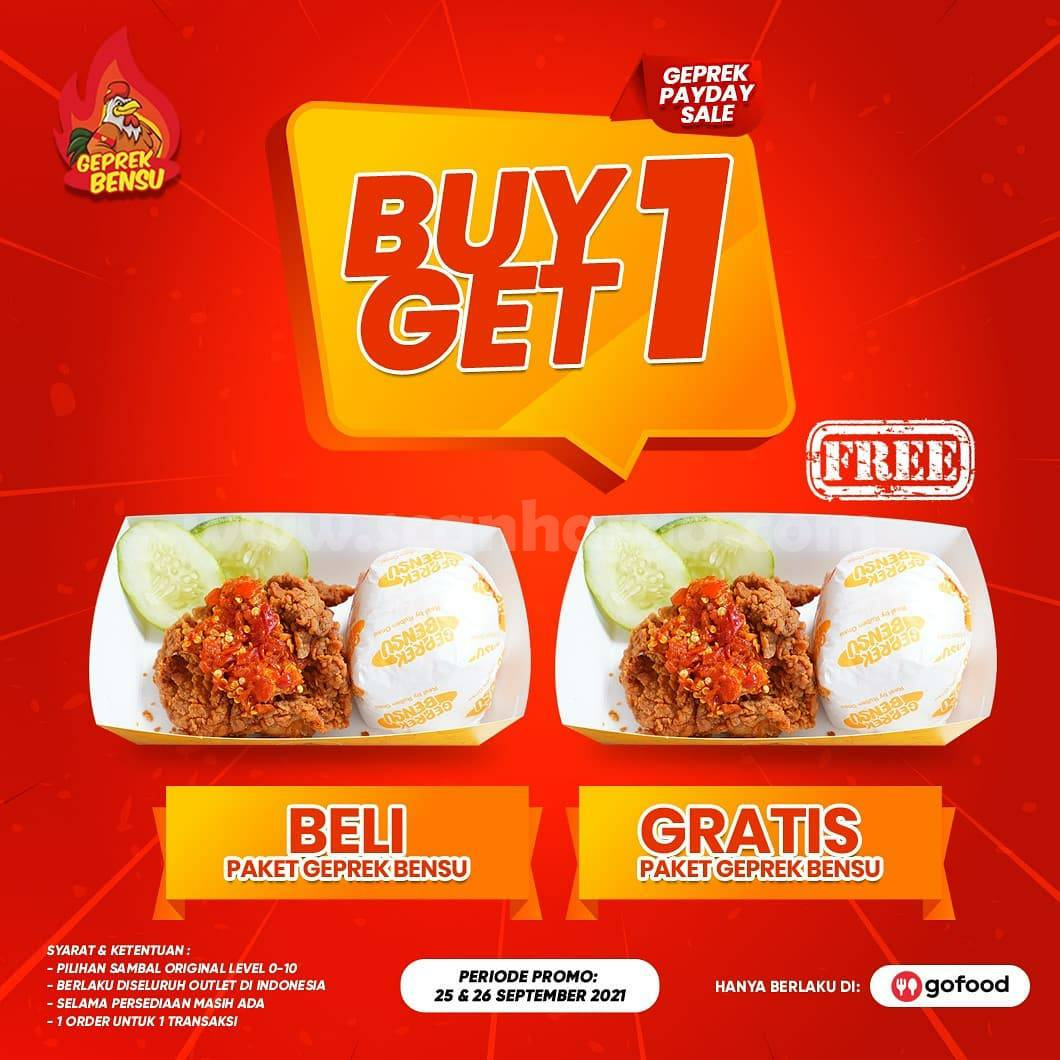GEPREK BENSU Promo Geprek PAYDAY SALE Buy 1 Get 1