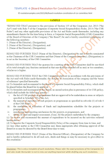 Board Resolution for Constitution of CSR Committee