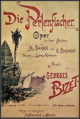 Αφίσα με εικόνα από ψαρόβαρκα με τον τίτλο της όπερας Αλιείς μαργαριταριών.
