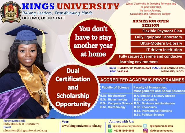 Kings University Post-UTME / Direct Entry Admission Forms 2019/2020