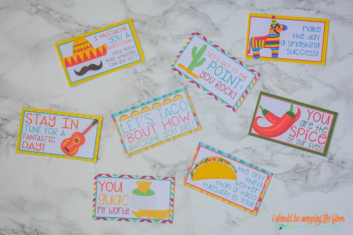 Kids' Lunch Box Idea and Free Printable Taco-Themed Lunch Box Notes
