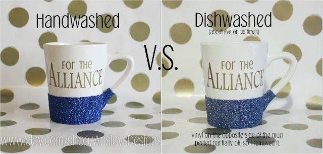 Can you put a vinyl glitter mug in the dishwasher?