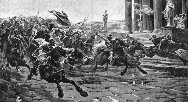 La invasión de los bárbaros, según un dibujo de P. y Valor (La Ilustración Ibérica, 25-6-1887)