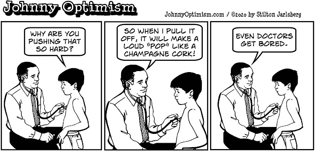 johnny optimism, medical, humor, sick, jokes, boy, wheelchair, doctors, hospital, stilton jarlsberg, check up, boy, stethoscope, champagne cork