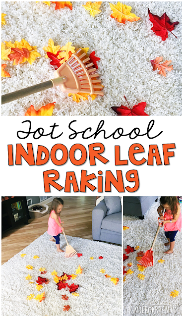 Learning is more fun when it involves movement! This indoor leaf raking activity is so much fun. Great for tot school, preschool, or even kindergarten!