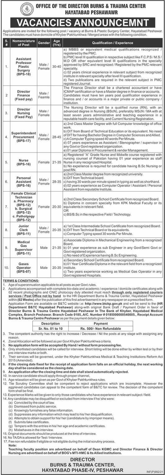 Burns & Plastic Surgery Center Jobs 2021 in Peshawar KPK