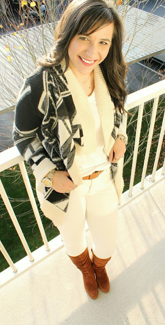 Aztec Cardigan and suede boots for fall outfit