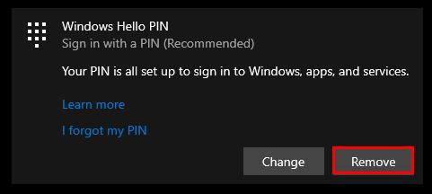 Windows - PIN Remove