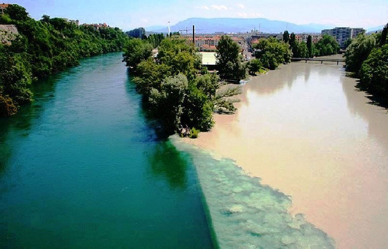 The Confluence of Rhone and Arve rivers, Geneva (Switzerland) -  One of the Most Amazing Natural Phenomenon To Experience