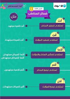 ملخص اللغة العربية الصف الرابع الابتدائى الترم الأول من تطبيق كتاب الاضواء ضمائر المخاطب