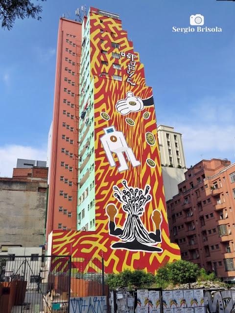 Vista ampla do Mural Grafite na Rua Antônio de Godói - Centro - São Paulo